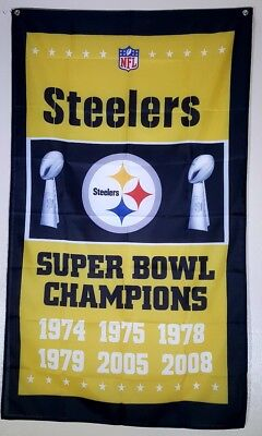 Pittsburgh Steelers Super Bowl Flag Banner 3x5 Ft Man Cave Wall Decor Gift NFL