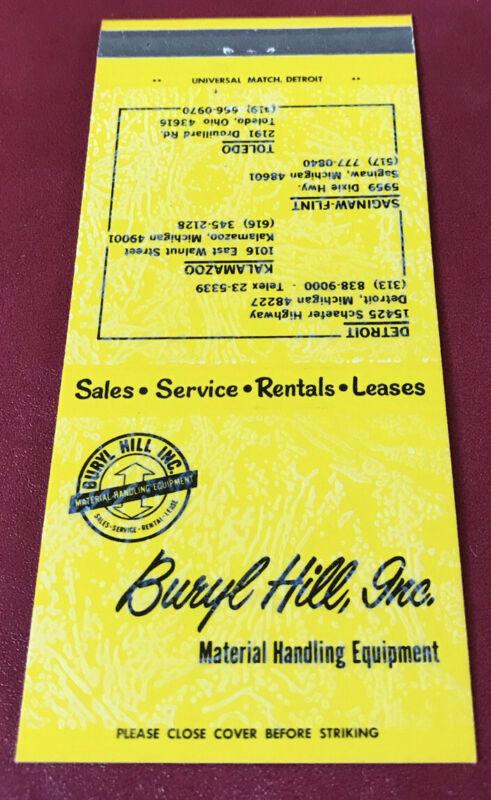 Matchbook Cover Buryl Hill Inc. Material Handling Equipment Detroit Toledo Flint
