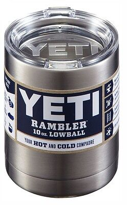 10 oz YETI Lowball Stainless Steel Insulator Rambler with Lid - NEW !