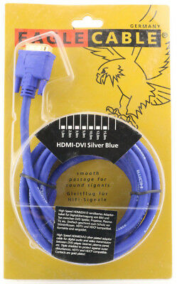 Dvi-stecker-kabel (EAGLE CABLE Silver Blue High Speed HMDI auf DVI Stecker Kabel 3m Adapter PC )