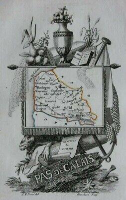 Miniature antique map, PAS DE CALAIS, BOULOGNE, FRANCE, A. M. Perrot, 1824
