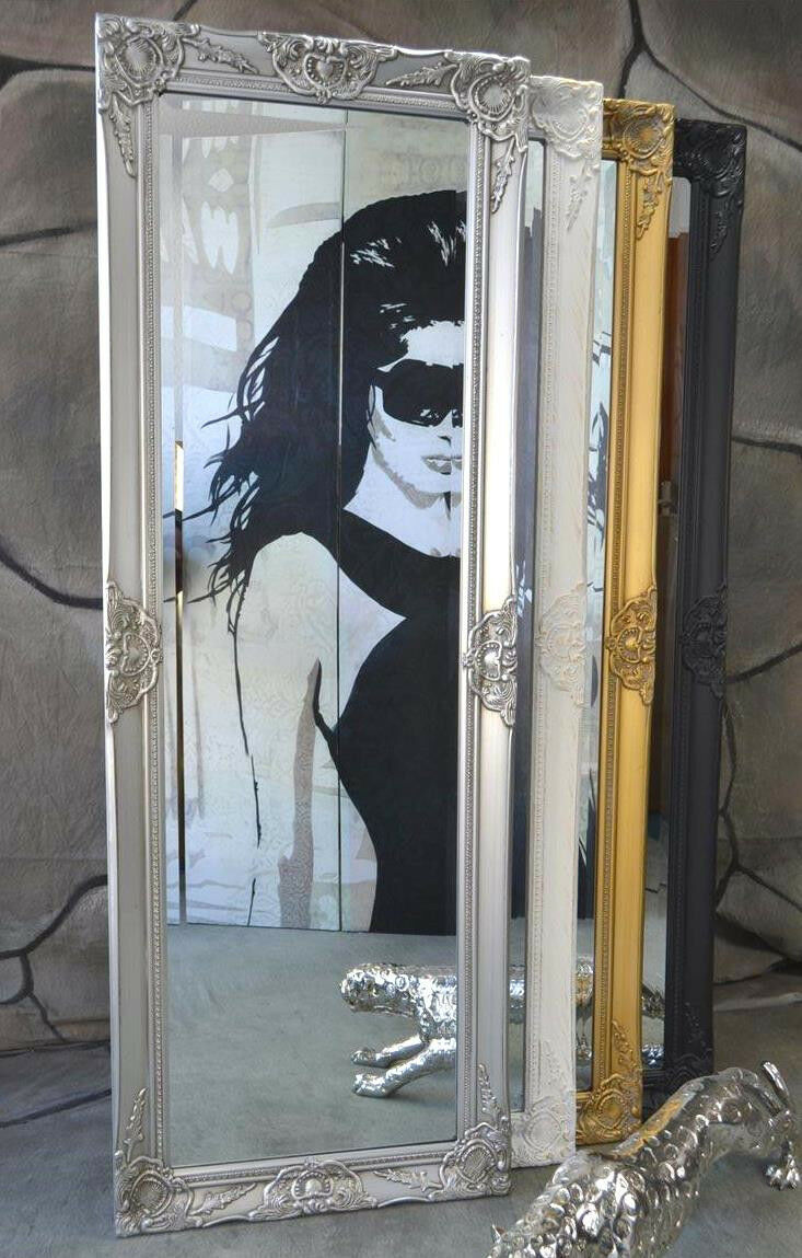 wandspiegel badspiegel spiegel barock antik silber