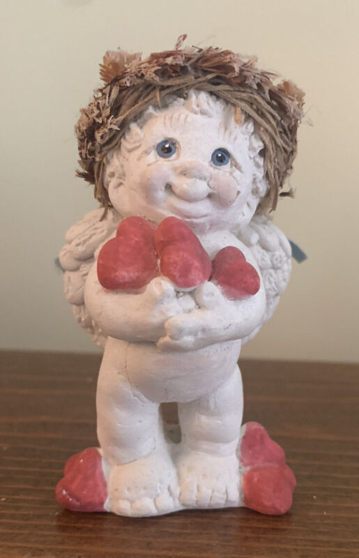 """Vintage Dreamsicle 3"""" Cherub(angel) Standing With Valentine Hearts Signed"""