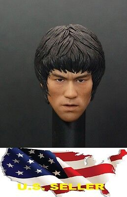 1//6 Bruce Lee Head Sculpt 8.0 open mouth w// hands for Hot Toys Phicen M32 ❶USA❶