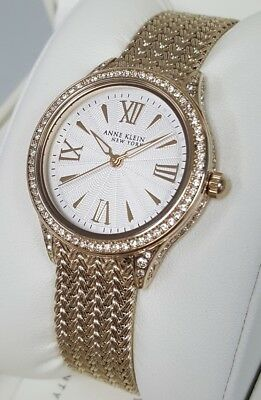 Anne Klein New York 12/2290SVGB Women's 35mm Gold Tone Mesh Watch *NWT*