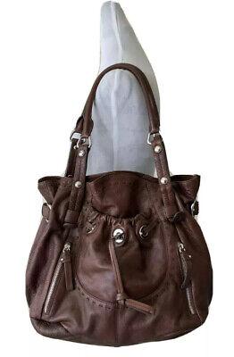 B Makowsky Hobo Handbag Brown Leather Shoulder Bag Purse Large Unique
