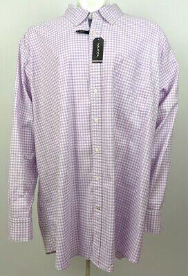 Nautica Men's Dress Shirt Stretch Button Down Long Sleeve Purple Check 4XLT NWT