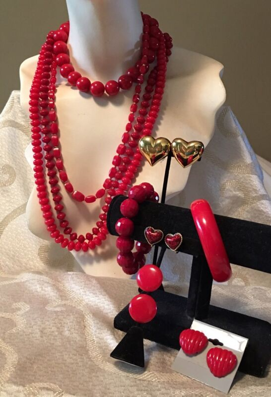 Bold Red Plastics Bead Jewelry Lot•Vtg-Now•Necklace*Bracelet*Clip Earrings+ a89