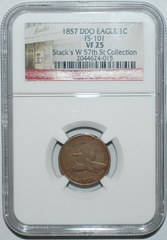 1857 NGC VF25 FS-101 Doubled Die Obverse Flying Eagle Cent
