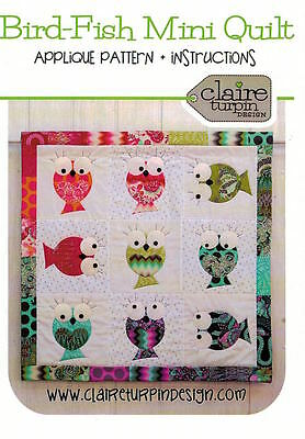 "Bird-Fish Mini Applique Quilt Pattern ~ Claire Turpin Design ~ Charm pack/5"" sq"