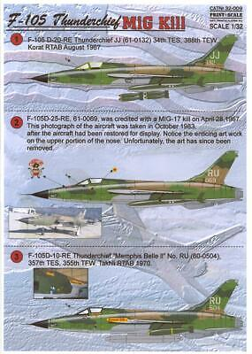 Print Scale Decals 1/32 REPUBLIC F-105D THUNDERCHIEF MiG Killer for sale  Shipping to Canada