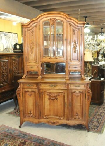 Exquisite French Antique Walnut Louis XV Buffet / Sideboard Cabinet Beveld Glass