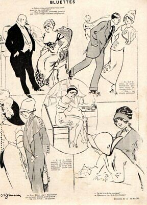 BLUETTTES PATIN ROULETTE PIGEON JARACH HUMOUR 1911 PRINT ROLLER SKATE segunda mano  Embacar hacia Spain