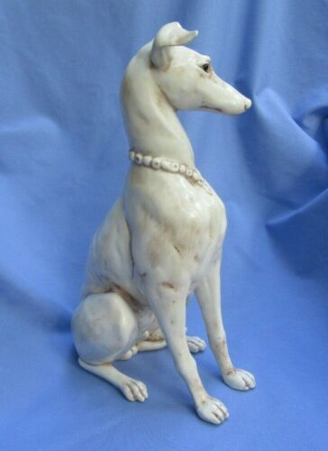 """WHIPPET ITALIAN GREYHOUND KAY FINCH DOG 14"""" ANTIQUE WHITE COLOR"""