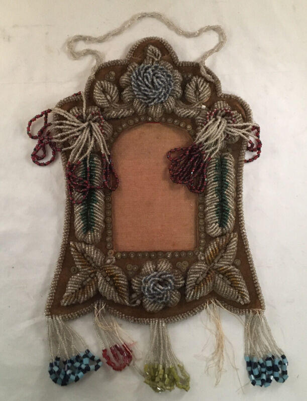 ANTIQUE IROQUOIS NATIVE AMERICAN CABINET CARD PICTURE FRAME BEADWORK BEADED