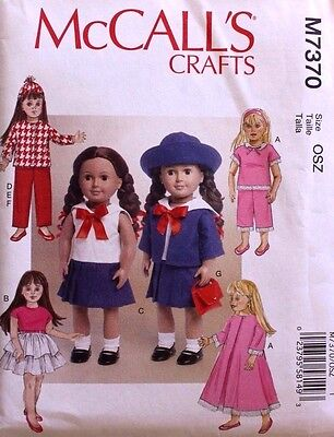 """18"""" GIRL DOLL CLOTHES *SAILOR*RETRO*HAT*PURSE McCalls Pattern 7370 American Made"""
