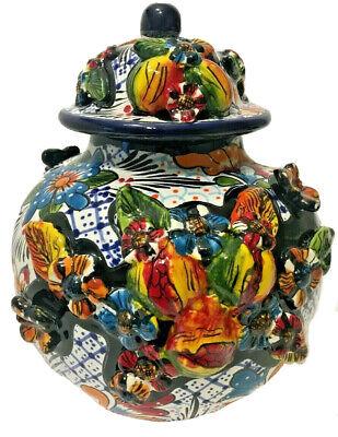 Mexican Pottery Talavera Ginger Jar Tibor Gerardo Garcia Canister Folk Art Talavera Ginger Jar