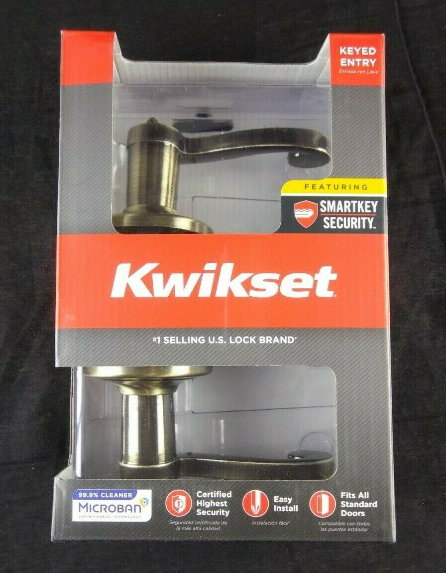 Kwikset Lido Entry Lever Featuring SmartKey in Antique Brass