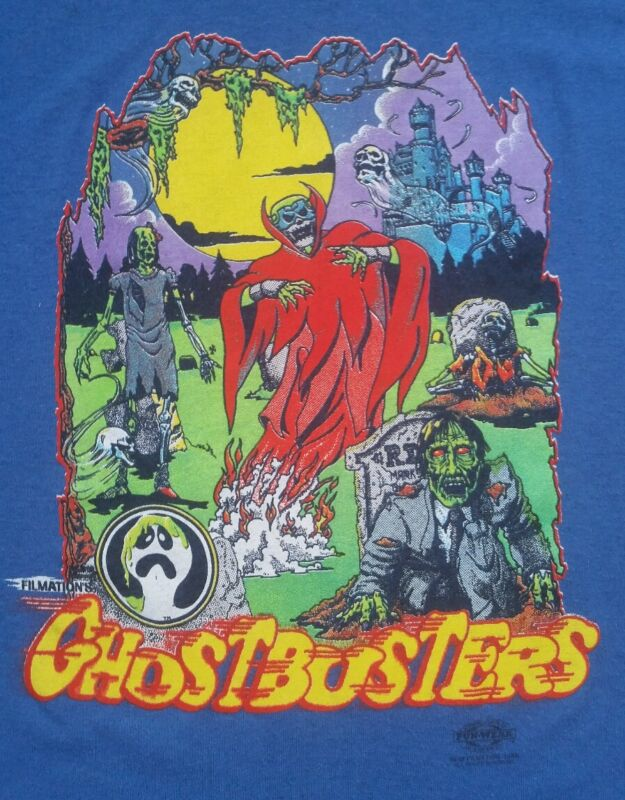 Vtg 80s GHOSTBUSTERS Movie Filmation T-Shirt Tee Zombie Ghost Ghoul Skull RARE