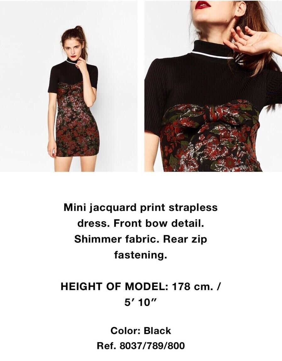 a632dd6c Details about ZARA JACQUARD MINI DRESS STRAPLESS FRONT BOW DETAIL SHIMMER  FABRIC S M 8037/789