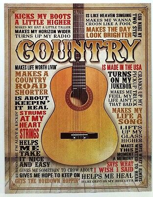MUSIC - COUNTRY MUSIC TYPOGRAPHY - GUITAR - COLLECTIBLE TIN SIGN - WALL DECOR