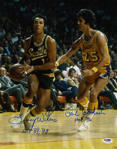 Lenny-Wilkens-Gail-Goodrich-DUAL-SIGNED-11x14-Photo-PSA-DNA-AUTOGRAPHED