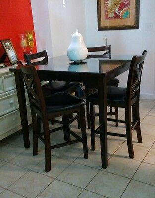 Dark Brown Wood Dinning Set with Glass Top,  36 inch high and 42 inch square  42' Square Glass Top