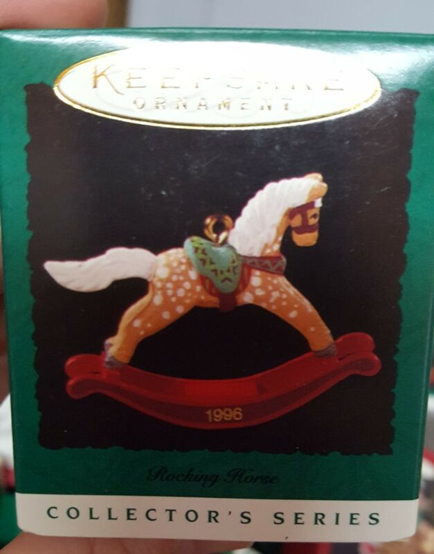 1996 Hallmark Miniature Ornament Rocking Horse 9th in Series NIB NEW IN BOX
