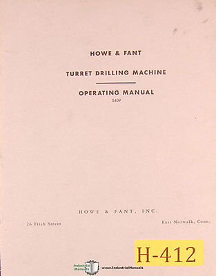 Howe And Fant Turret Drill Install Control And Operations Manual