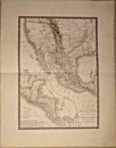 GENUINE CHART OF THE UNITED STATES OF CENTRAL AMERICA 1825 RARE FRAMEABLE