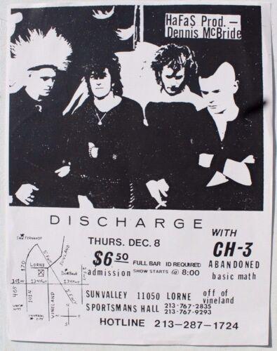 Vtg Dec 8th Hafas Production (Discharge) Sportsman Hall Rock Concert Flyer
