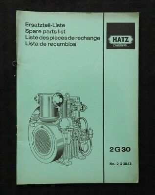 GENUINE HATZ 2 G 30 2G30 DIESEL ENGINE PARTS CATALOG MANUAL CLEAN