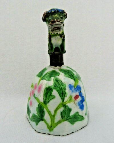 Antique Qing Dynasty Chinese Enamel Figural Bell ~ Foo Dog ~ Peking Glass Dinger