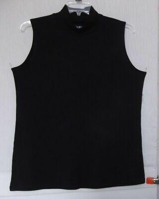 Croft & Barrow Black mock turtleneck knit top, sleeveless Plus size 1X,2X,3X (Black Sleeveless Knit Top)