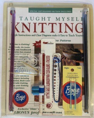 I Taught Myself Knitting book & supplies Knit Kit knitting needles gauge Boye