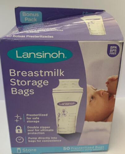 Lansinoh Pre-Sterilized Breastmilk Freezer Storage Bags Free New 50ct - $6.75