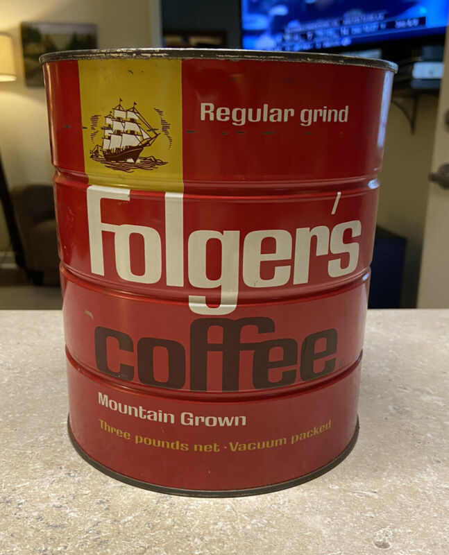 Vintage 1963 Folger's Coffee Can 3 Pounds With Sailing Ship