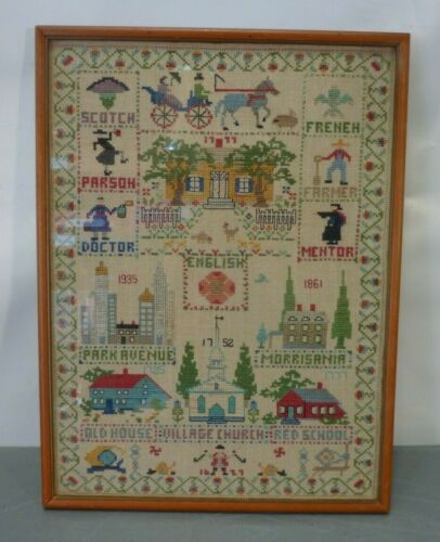 Antique Sampler Cross Stitch Framed Village Town City House Church School Vtg