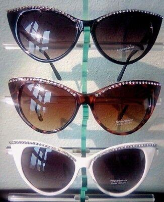 Cat Eye Sunglasses Women Ladies Rhinestone Jackie O black, white, brown (Jackie O Sunglasses White)