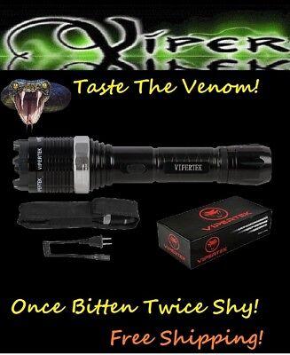 Viper Black Silver 2885 MV Metal POLICE Stun Gun +LED LIGHT+TASER HOLSTER