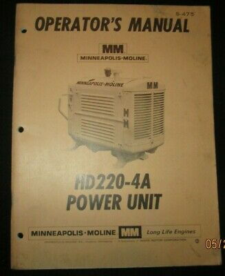 Minneapolis-moline Hd220-4a Power Unit Operation Maintenance Manual Original