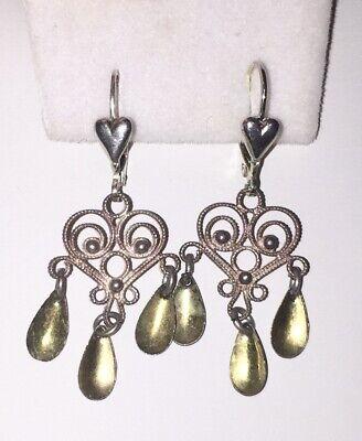 Lacey Vtg Scandinavian SOLJE Silver Heart filigree drop Earrings~pierced or not