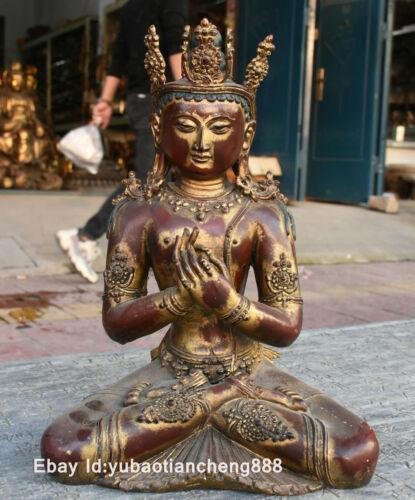 15 Old Tibet Buddhism Bronze Painting Maitreya Bodhisattva GuanYin Buddha Statue