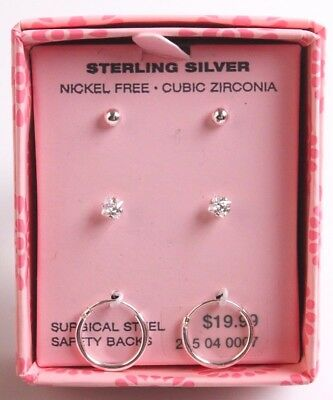 3 Girls Sterling Silver 925 Cubic Zirconia Crystal Hoop Post Stud Earrings NIB