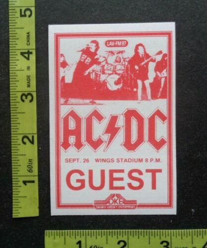 "AC DC,Original RARE adhesive cloth ""GUEST"" Backstage pass,Wings Stadium"