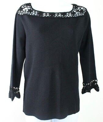Joseph A. medium black crocheted neckline and cuffs 3/4 sleeve top women's