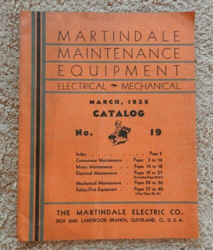 1935 MARTINDALE MAINTENANCE EQUIPMENT CATALOG ELECTRICAL MECHANICAL CLEVELAND OH