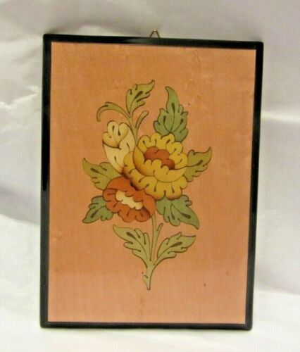 """Notturno Intarsio Sorrento Italy Inlaid Wood Wall Hanging Flowers 4 X 5 1/2"""""""