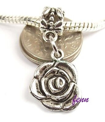 Rose Flower Dangle Silver Tone Slider Add a Bead for European Charm Bracelet - Charms For A Charm Bracelet