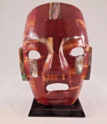 Mexican Folk Art Mosaic Burial Mask with Abalone & Polished Gemstone